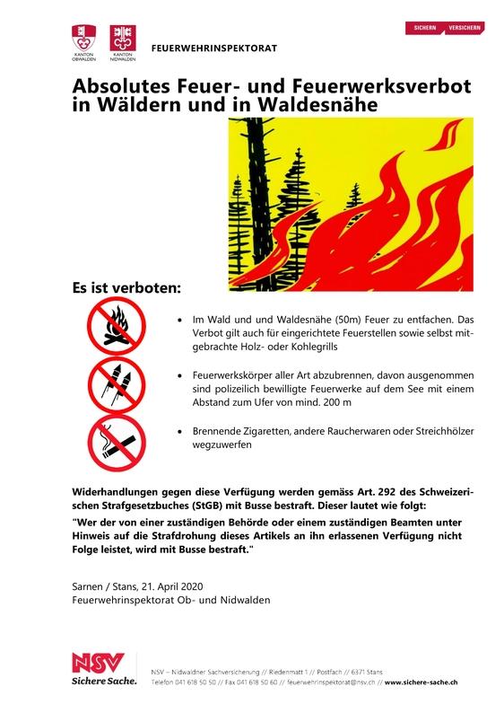 Plakat Feuerverbot 2020